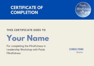 Mindfulness in Leadership and Management Workshop Certificate